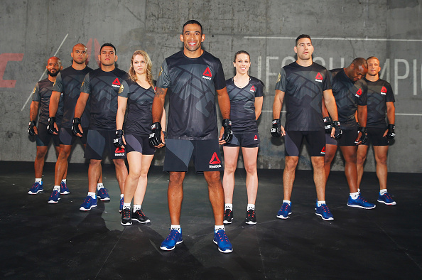 NEW YORK, NY - JUNE 30:  UFC fighters display the new Reebok clothing line during the Reebok Fight Kit Launch at Skylight Modern on June 30, 2015 in New York City.  (Photo by Al Bello/Zuffa LLC/Zuffa LLC via Getty Images)