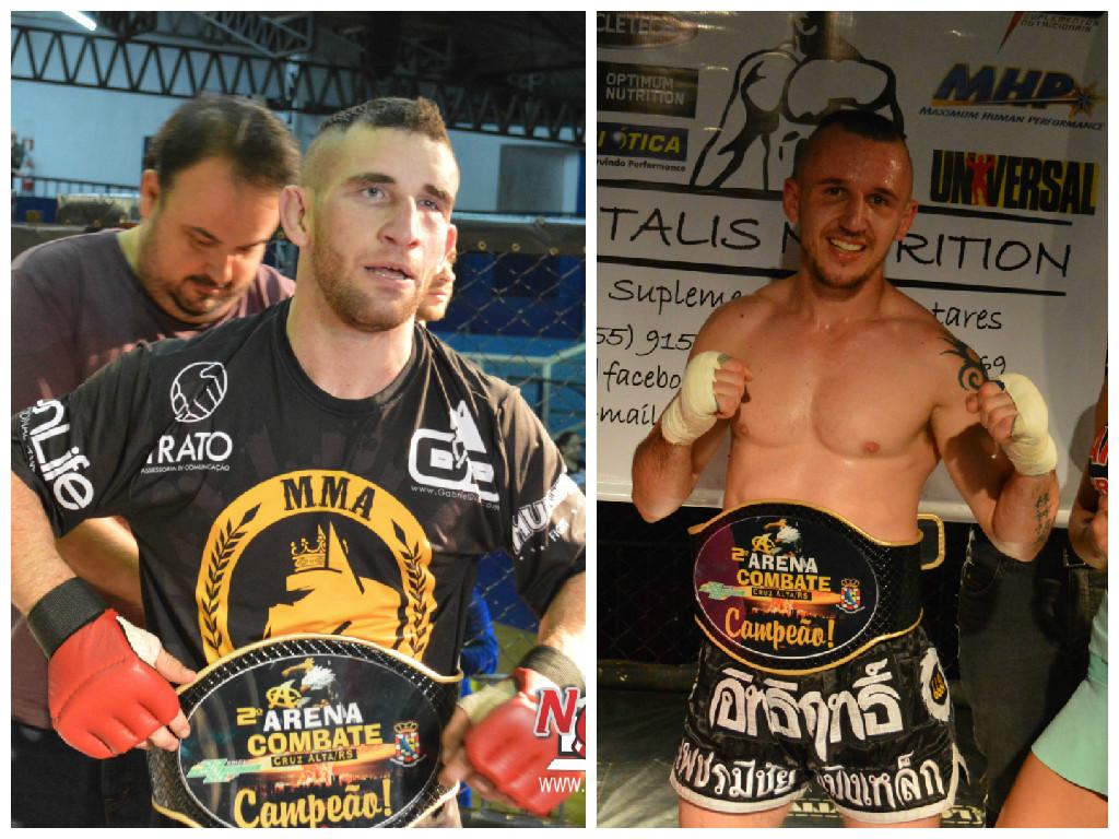 Roger Sampaio  campeão dos galos recebendo o cinturão do secretário de esportes (esq) e Juliano Mattioni (dir) campeão Super Leve do K-1.