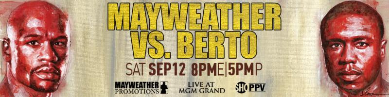 Banner Mayweather vs Berto. ( Foto: Mauweather promotions )